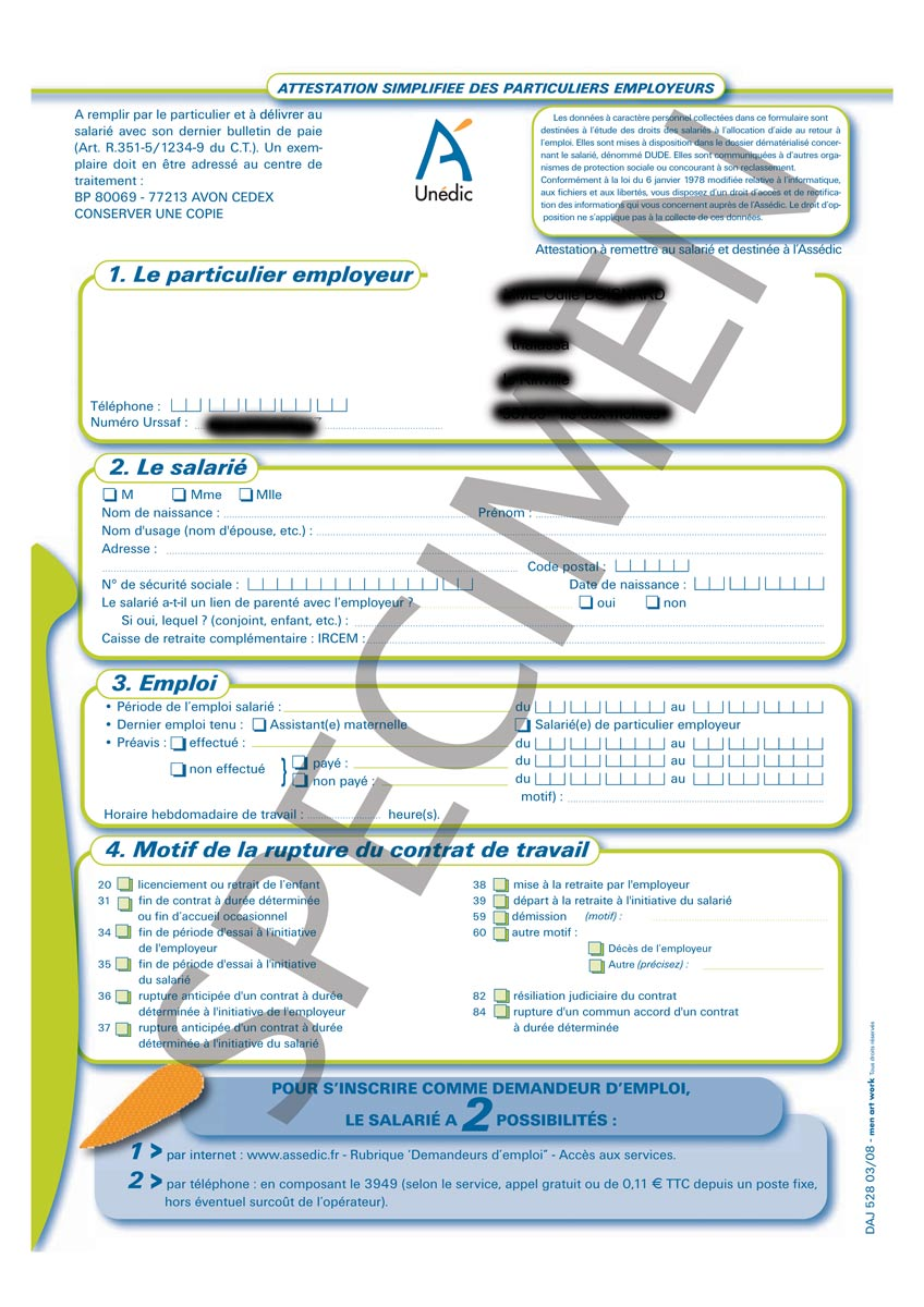 Attestation Pole Emploi Cesu Steadlane Club